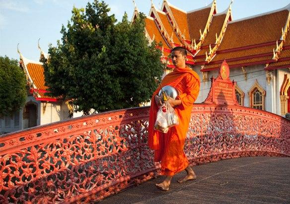 Tibetan buddhist monks near the Wat Benjamaborpit in Bangkok, Thailand.