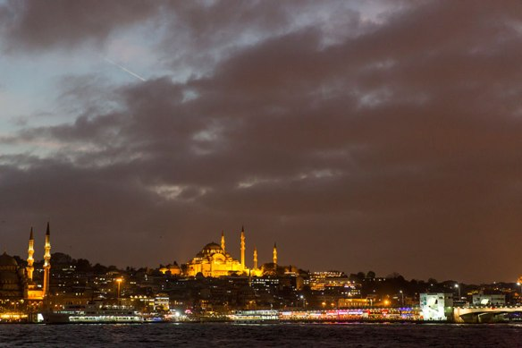 Süleymaniye Mosque with night illumination in Istanbul.