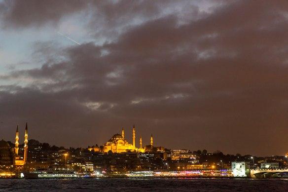 Süleymaniye Mosque with night illumination in Istanbul.