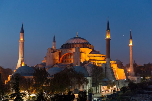 Hagia Sophia with night illumination in Istanbul.