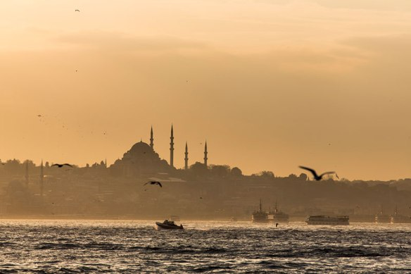 Süleymaniye Mosque at sunset in Istanbul.