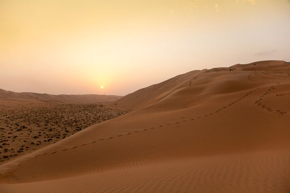Landscape of Empty Quarter desert at sunset.
